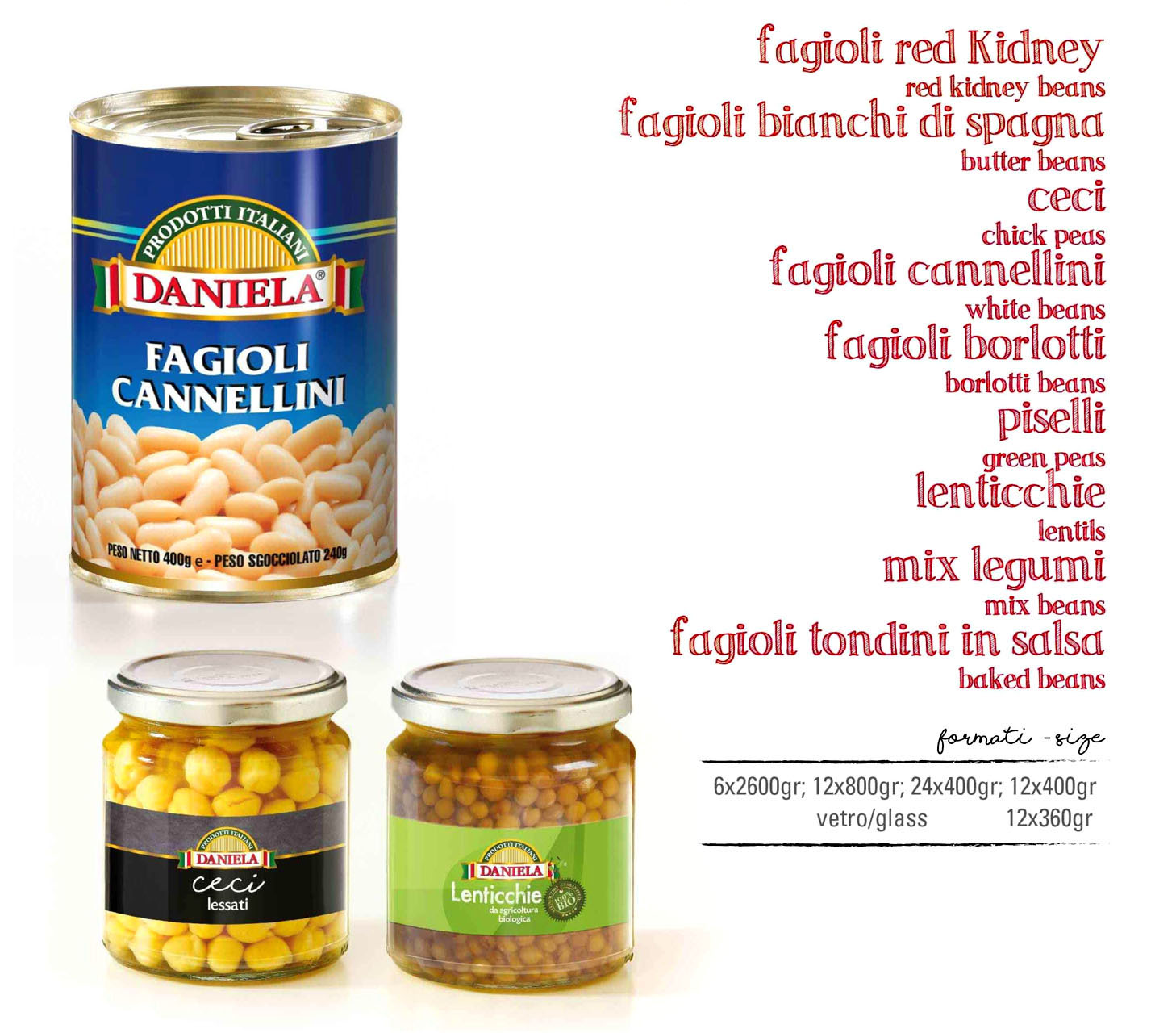 Italian beans chick peas green peas lentils in tins and glass jars