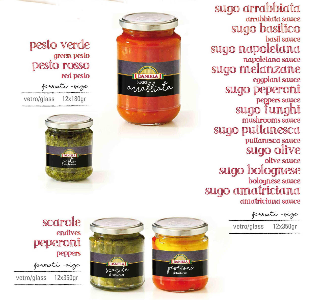 Italian sauces and condiments for pasta in glass jars