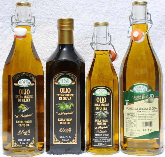 Italian extra virgin olive oil in glass bottles