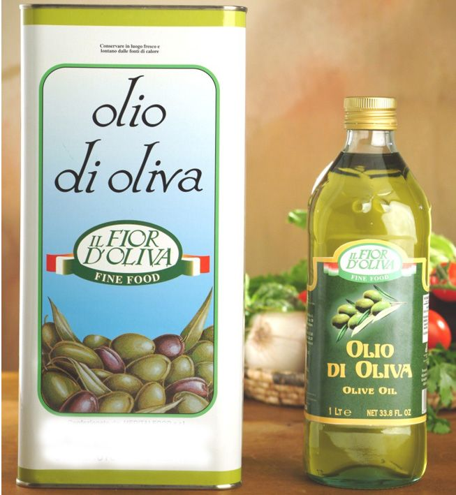 Italian olive oil in glass bottle of 1 litre and in tin of 5 litres