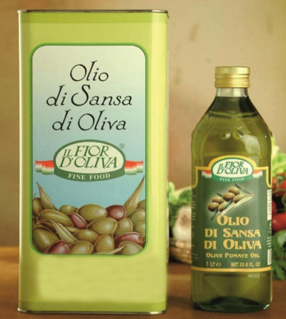Italian ponace olive oil in glass bottle of 1 litre and tin of 5 litres